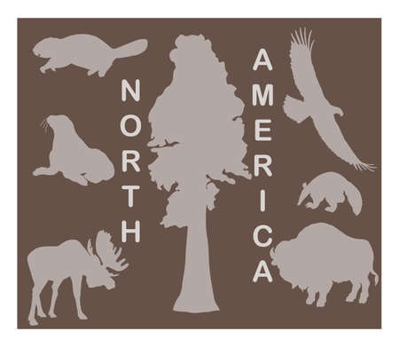 north america: Animal silhouettes - North America