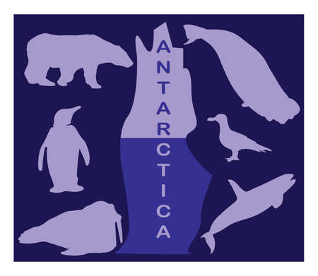 antarctica: Animal silhouettes - Antarctica Illustration