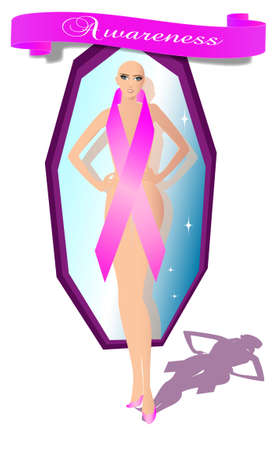 Girl with awareness ribbon - breast cancer Illustration