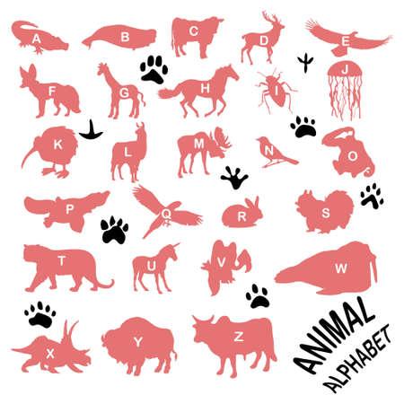 yak: Animals silhouettes ALPHABET - FAUNA