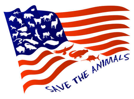 USA flag with animals instead of stars