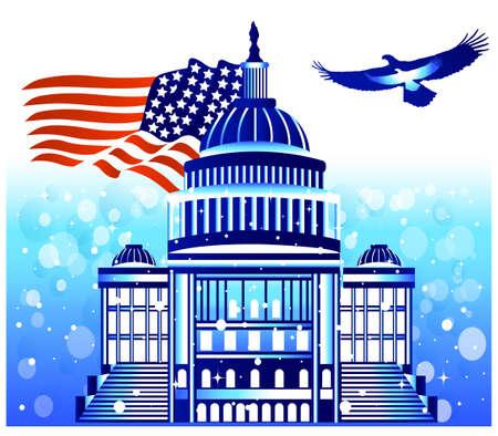 USA Parliament with flag and eagle Çizim