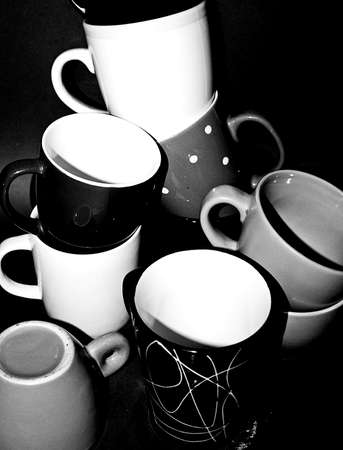 Tea cups in mess - black and white