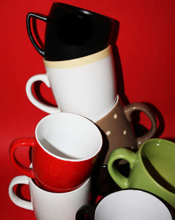 Tea cups in mess Stock Photo
