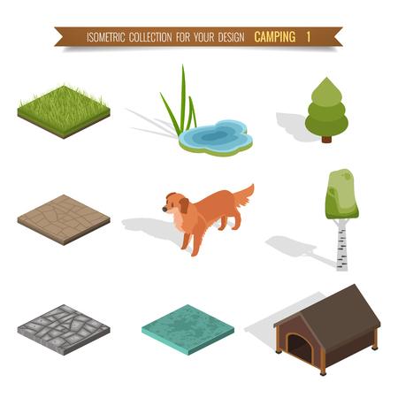 Isometrische 3D-forest camping elementen voor landschapsontwerp. Stock Illustratie