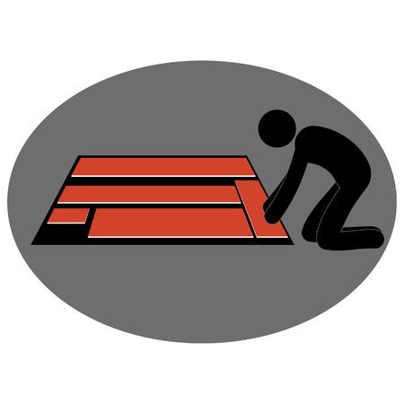 installing: Floor laying illustration, floor installation, pictogram