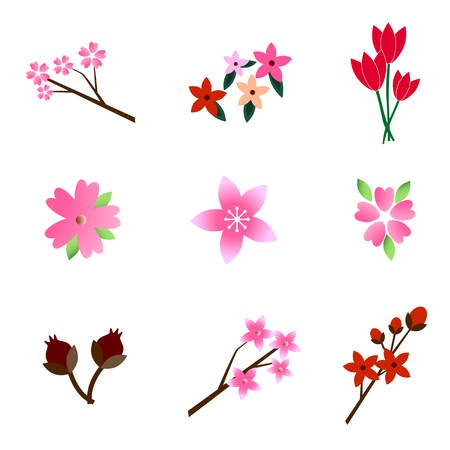 for example: Set of beautiful colorful flowers, for any decorations, for example cards