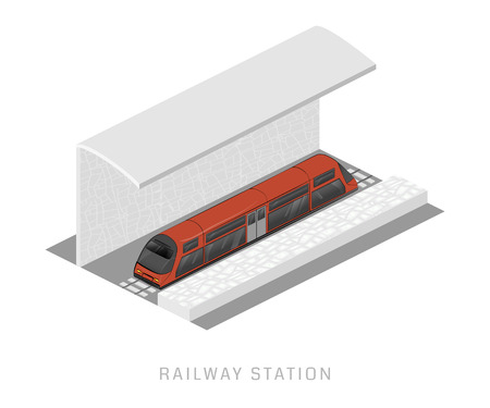 locomotion: Vector isometric of subway train. Illustration