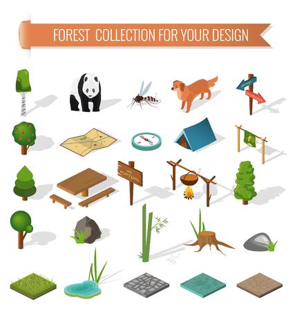 éléments randonnées en forêt de camping 3D isométriques pour la conception du paysage