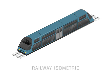 high speed train: Vector isometric of subway train. Vehicles designed to carry large numbers of passengers. High speed inter-city commuter train. Isometric train. Vector public electric transport. Isometric transport