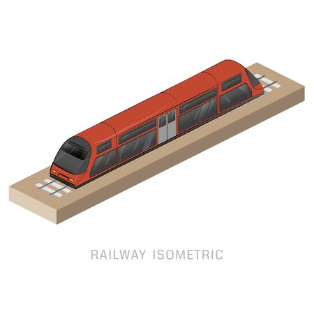 commuter train: Vector isometric of subway train. Vehicles designed to carry large numbers of passengers. High speed inter-city commuter train. Isometric train. Vector public electric transport. Isometric transport