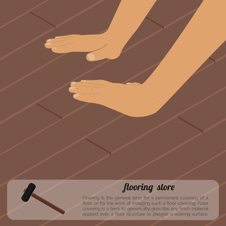installing: Installing wooden flooring. Repair and construction illustration. It can be used as an advertisement, floor repair o floor laying
