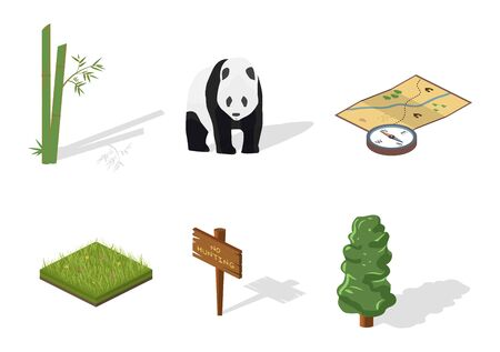 wild grass: Isometric 3d forest hiking elements for landscape design. Tree, grass, bamboo, wild animals, compass, signpost. Navigation equpment. Vector illustration Stock Photo