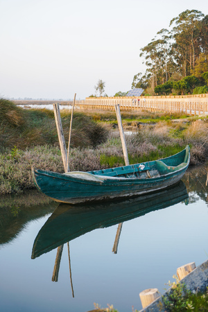 Quaint small boat next to shore in peaceful lagoon on bright day. Boat reflection on water.