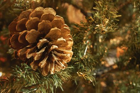 Macro of golden pinecone in artificial Christmas tree, with blurry background and copy space. Stockfoto