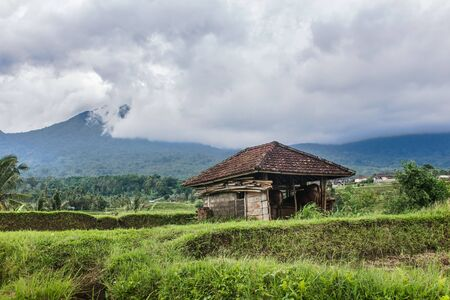 Hut in Jatiluwihs rice fields in Bali, Indonesia. Dramatic sky and mountains in the background. Stockfoto
