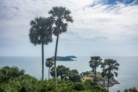 Palm trees in Promthep Cape with the Andaman Sea and islands in the distance during a cloudy day. In Phuket, Thailand Stockfoto