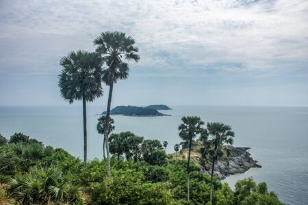 View over the picturesque Promthep cape, a lookout point known for its stunning sea views. In Phuket island, Thailand 写真素材