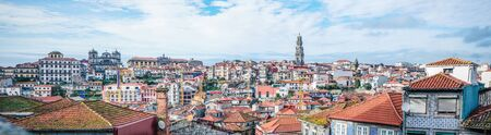 Gorgeous panoramic shot of the Porto skyline on bright day, with Clerigos Tower and the Portuguese Centre of Photography Stockfoto