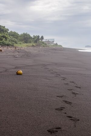 Vertical photo of a seascape of the tropical coastline of Pantai Wates in Bali, Indonesia. Footprints and a coconut shell lying in the black sand beach with a hut in the background, on a cloudy day