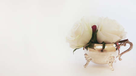Isolated white flowers inside a silver creamer pot. Concept for afternoon tea, with copy space