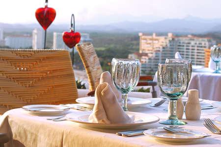 Romantic dinner table set