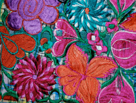 Part of a vibrant colorful mexican embroidery