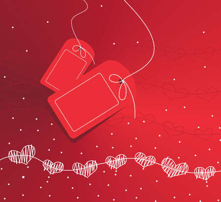textured: Two tags hanging over a red textured background with hearts Illustration
