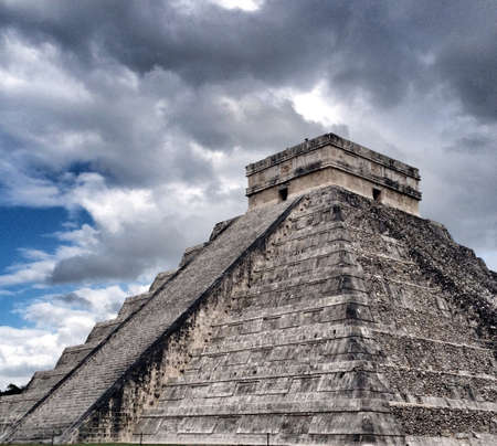 Chichen Itza, Mexico, main pyramid with clouds on sky