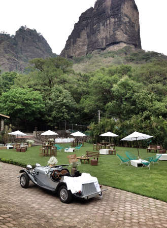 back: Wedding garden arrangement with classic car and Tepozteco mountain on the back