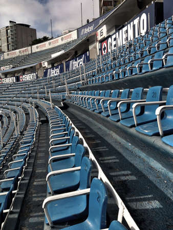 azul: Blue seats in Cruz Azul soccer stadium in Mexico City Stock Photo