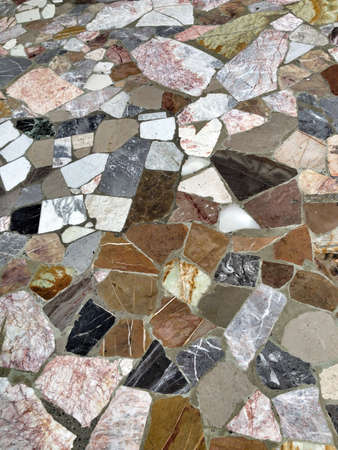 Floor of irregular marble color and shapes