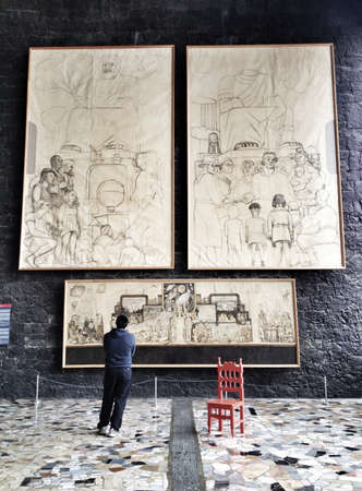 artwork: Diego Riveras Sketch work in Anahuacalli Museum, Mexico City