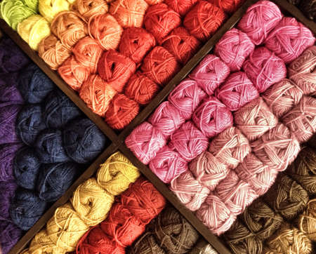 Colorful display of yarn Stock Photo