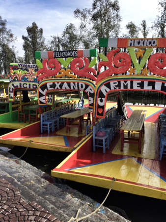 tradition: Traditional boats in Xochimilco, Mexico City