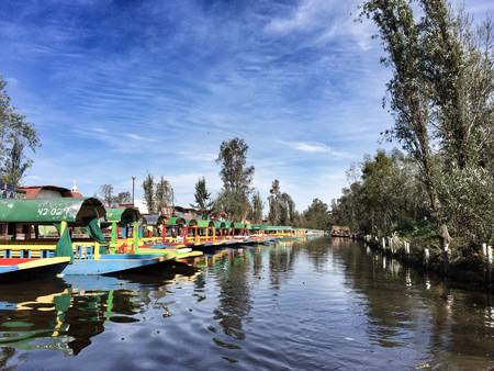 colorful: Water canal at Xochimilco, Mexico City Stock Photo