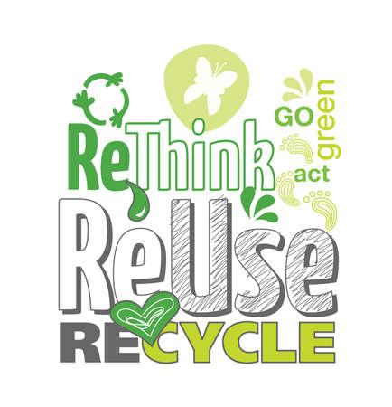 小話イメージ グリーン行く概念を再利用、再考、白い背景の上リサイクル