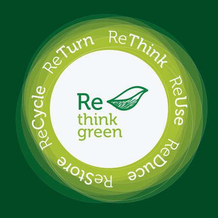 think green: Re piensan concepto verde, transparencias circulares verdes