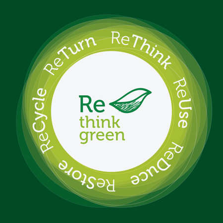 re: Re think green concept, green circular transparencies Illustration