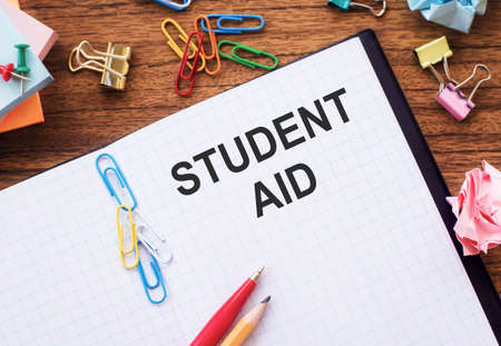 Student AID. Student help and support concept. Student loan Banco de Imagens
