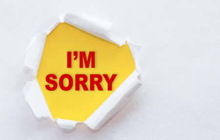 Top view of white torn paper and the text I'M SORRY on a yellow background.