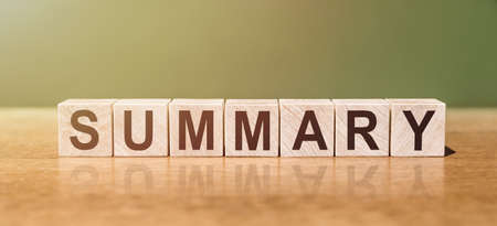 SUMMARY word written on wooden blocks on wooden table. Concept for your design.