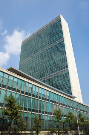 the united nations: skyscraperand de las Naciones Unidas ONU secretar�a y la biblioteca Dag Hammarskj���¶ld, vista lateral - 1 septiembre 2015, la calle 42, Ciudad de Nueva York, Nueva York, EE.UU.