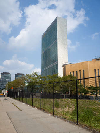 first nations: UN United Nations secretariat skyscraper - September 1, 2015, First avenue, New York City, NY, USA