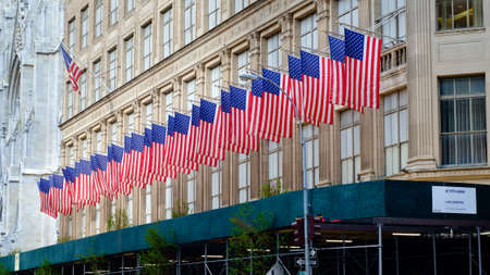 fifth: Row of American flags on Saks Fifth Avenue, New York City - July 10, 2016, 5th Avenue, New York City, NY, USA
