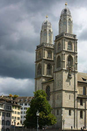 grossmunster cathedral: Grossmunster church in Zurich, Switzerland, before the storm.