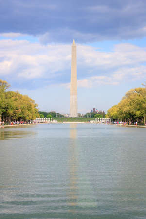 obelisk stone: Washington monument and reflecting pool, view from Lincoln memorial
