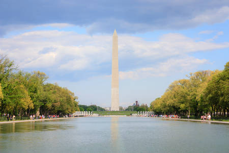 reflecting: Washington monument and reflecting pool, view from Lincoln memorial