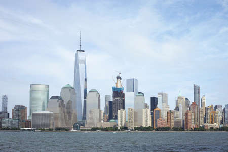 Manhattan Financial District Skyline viewed from Jersey City Stock Photo - 81168401