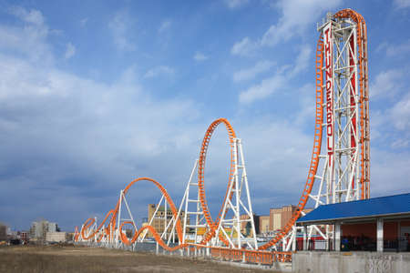 Thunderbolt roller coaster in the Coney island Luna Park in Brooklyn, New York city. Blue sky with clouds in the background.